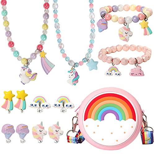 PinkSheep Unicorn Rainbow Purse Jewelry Set for Kids Girl 9PC Unicorn Clip-on Earring Unicorn Necklace Bracelet Bag Backpacks Little Girl Jewelry Accessories