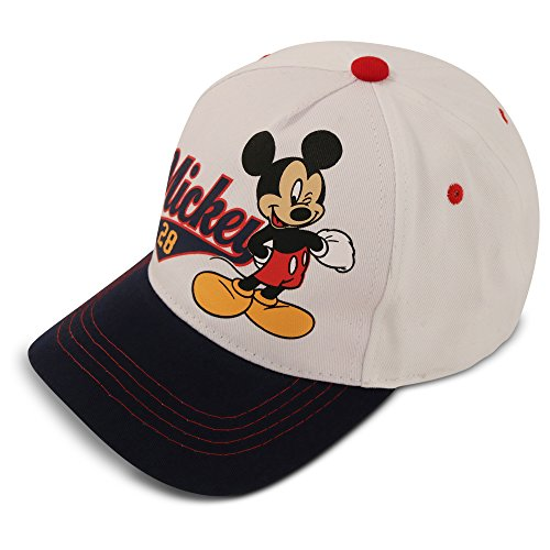 Disney Kids Hat for Toddler or Little Boys Ages 2-7 Mickey Mouse Baseball Cap, White/Blue, Age 4-7 Years