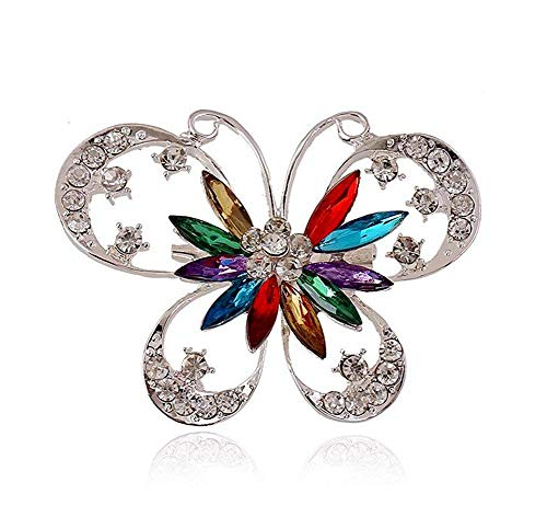 Fliyeong Premium Quality Butterfly Brooch Animal Pendant Pin Fashion Broach Ladies Badges for Wedding Dress Jewelry Women Small Gift 4.5 * 6.3CM