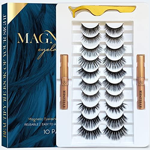 BELOEN Magnetic Lashes with Eyeliner and Tweezers, 10 Pairs Reusable Magnetic Eyelashes and 2 Tubes of Waterproof Magnetic Eyeliner Kit
