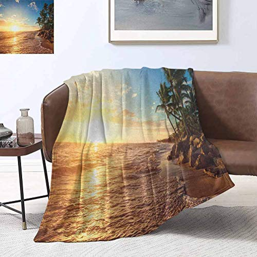 RoomdecorG Tropical Bed Blankets Palm Trees on Tropical Beach Sunrise Morning View Panoramic Nature Picture 50x65 Inch Super Soft Flannel Fleece Blanket