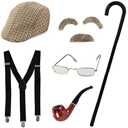 Tigerdoe Old Man Costume - Grandpa Costume with Cane - Old Man Glasses, Eyebrows, Mustache, Hat, Pipe, Suspenders, & Cane - 7 Pc Set