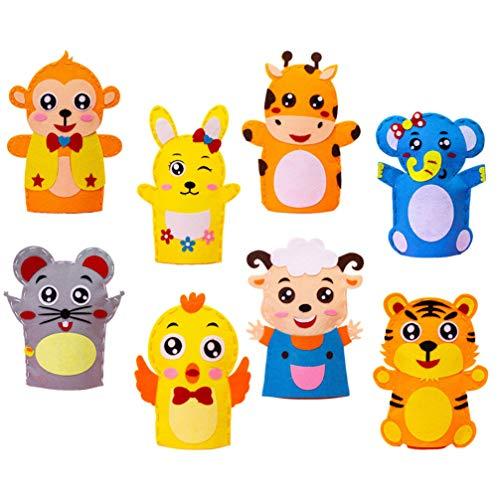 HEALLILY 8Pcs Kit de Fabricación de Marionetas de Mano Set de Fabricación de Marionetas de Calcetín de Animales Marionetas de Mano Artesanales Creativas Marionetas de Bricolaje Muñecas