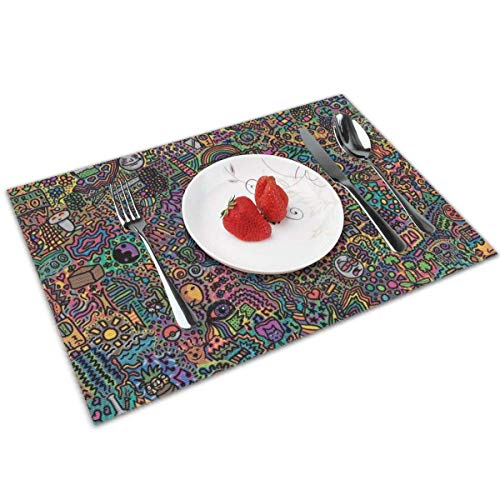 Beryl Shop Napperons de Couleur Little Monster World pour napperons de Table à Manger pour la Cuisine de l'hôtel