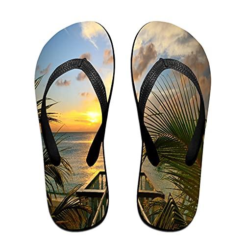 Sandales unisexes minces à bascule,La vue depuis les terrasses du magnifiq, Tapis de yoga Flip Flops plage confortable bracelet en cuir avec légère en EVA Sole Taille M