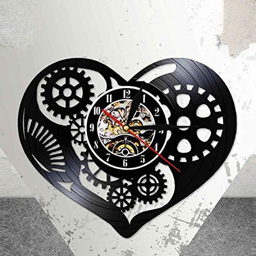 KEC Studio Steampunk Reloj de Pared con Disco de Vinilo Steam Punk Heart Love Cut Artesanía Arte LED Lámpara de luz Nocturna Reloj Que Brilla en la Oscuridad