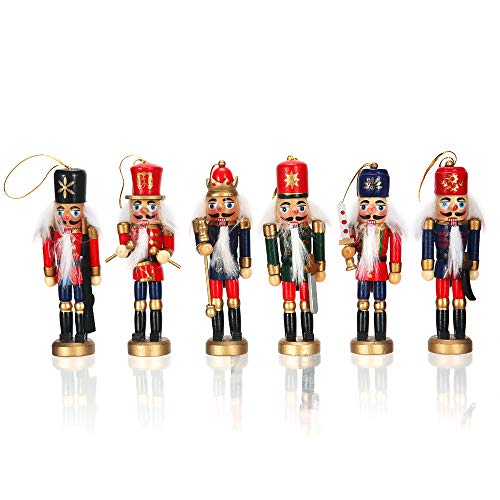 BEIEN Nutcracker Soldier Ornaments Set, 5 Inch Tall Nutcracker Christmas Tree Hanging Decorations, Handmade Wooden Nutcrackers for Collection & Gifts - Adding Festive Atmosphere
