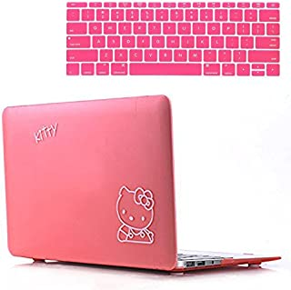 Rinbers PINK Kitty Rubberized Hard Shell Case Print Frosted for MacBook Pro 12 Inch with Retina A1534 with KB Skin