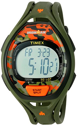 Timex Unisex TW5M01200 Ironman Sleek 50 Green/Orange Camo Resin Strap Watch