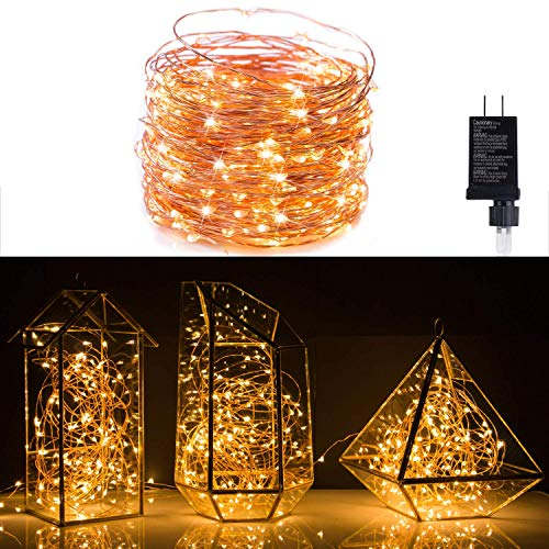 Minetom Fairy Lights Plug in, 100Ft 300LED Waterproof Firefly Lights on Copper Wire - UL Adaptor Included, Starry String...