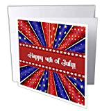 3dRose Kaleidoscope of Stars and Stripes, Happy 4Th of July, Red, Blue, White - Greeting Card, 6' x 6', Single (gc_239582_5)