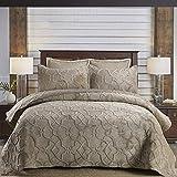Tagesdecke Baumwolle Gesteppt Steppdecke Doppelbett Bedruckt Set Gesteppte Tagesdecken Patchwork Bettiberwurf Und 2 Kissenbezüge,BrownA-270X233+2X51X71CM