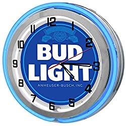 Redeye Laserworks Bud Light 18 Blue Double Neon Garage Clock from