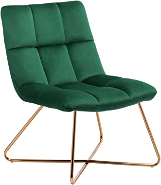 Duhome Velvet Accent Chair Retro Leisure Lounge Chair Mid Century Modern Chair Vanity Chair for Living Room Bedroom with Gold