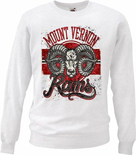 Sweatshirts Mount Vernon RAMS waterbuffel Dodge RAM lak Buffalo Wild A paard van de dieren in wit