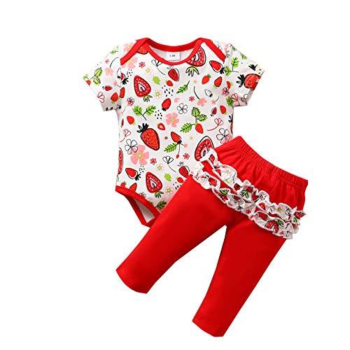 Tutina per neonato con stampa di frutta + pantaloni floreali. Colore: rosso 6 Mesi