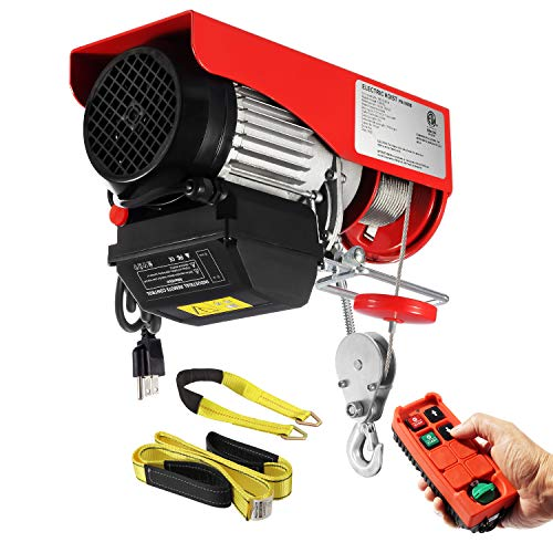 Partsam 2200lbs Automatic Lift Electric Cable Hoist with Wireless Remote Control 120V Overhead Crane Garage Ceiling Pulley Winch w Towing Strap, Electric Wire Rope Hoist, 38ft Lifting Height