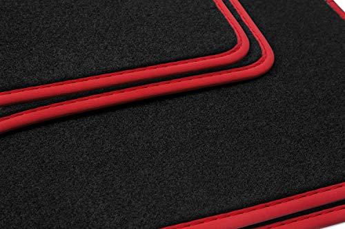 teileplus24 NL-137 Tapis de Sol pour Audi A3 8P Tapis de Voiture Haut de Gamme 4 pièces à surpiqûres en Nubuck, Bordure :Rouge