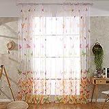 QYDF 1pcs Schmetterling um Voile Vorhänge, Rod-Taschen Curtain Panels Reine Muster von Land-Art-Fenster Schabracken für Mädchen-Raum,Rod,100x270cm