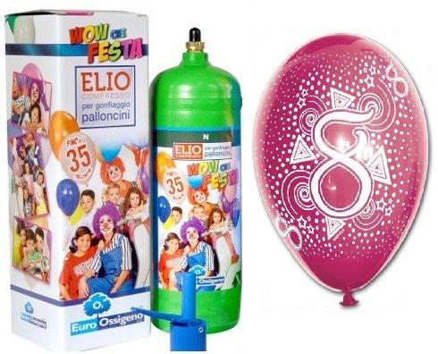Flasche Helium Gas mit 35Fliegende Luftballons sortiert Achte Geburtstag