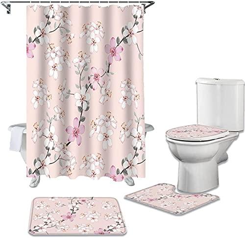 JZDH Duschvorhänge Sets Rosa Blume Pfirsichblüte im Frühling Badezimmer Set Durable wasserdichte Duschvorhang Set Teppich Teppich Toilette Deckel Deckel Badmatte 180x180cm (71x71in)