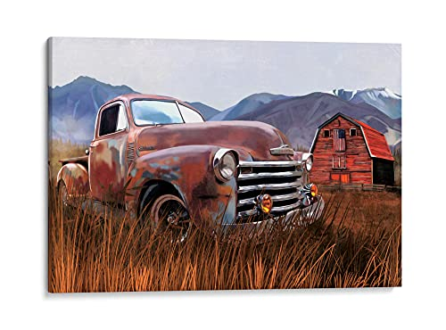 INTALENCE ART Old Barn and Retro Truck American Flag Wall Art Decor, Modern Country Vintage Red Barn Farmhouse Print on Canvas, 12x18in Picture Home Decor, Unique Colorful Living Room Bathroom Bedroom Poster Decoration. Wrapped Artwork Easy to Hang.