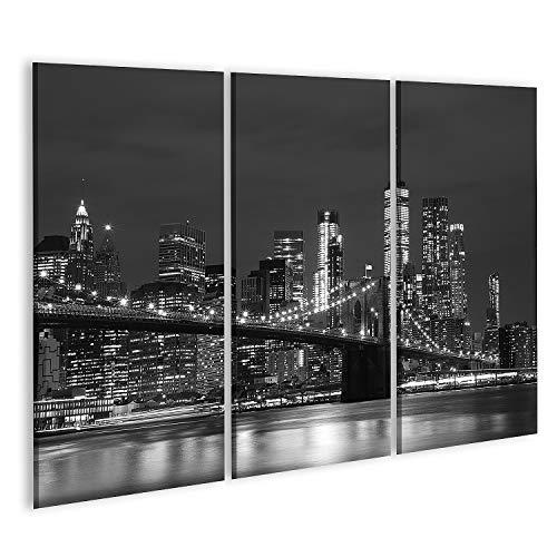 Quadro su Tela Ponte di Brooklyn e grattacieli del Centro di New York in Bianco e Nero Stampa Foto...