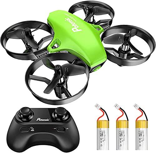 Potensic Mini Drone A20 con 3 Batterie per Bambini e Principianti Quadricottero RC Drone Giocattolo Economico modalità Senza Testa con Telecomando Avvio e Atterraggio con Un Pulsante, Verde