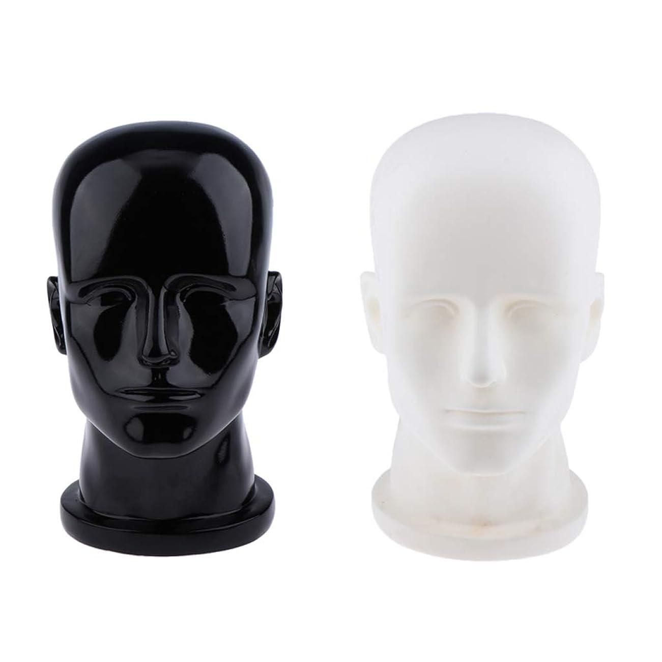 インストラクター市の中心部ネックレットT TOOYFUL マネキン ヘッド 男性 軽量 ポリ塩化ビニール 頭部モデル キャップ かつら作成 2個セット