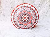 Zafú, cojín de meditación en Tonos Rojo y Blanco con Mandala Chakra 1, Raiz, Muladhara diseñado por floresyabejas