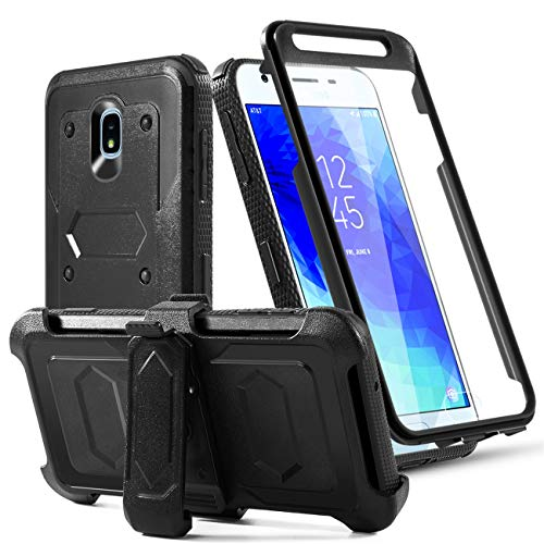 Phone Case for Samsung Galaxy J7 2018/J7 Star/J7 Grown/J7 V 2nd Gen/J7 Prime/J7 Refine/J7 Aura/J7 Top/J7Aero Built-in[Screen Protector] with Belt Clip[Kickstand] Heavy Duty Full Body Case,Black