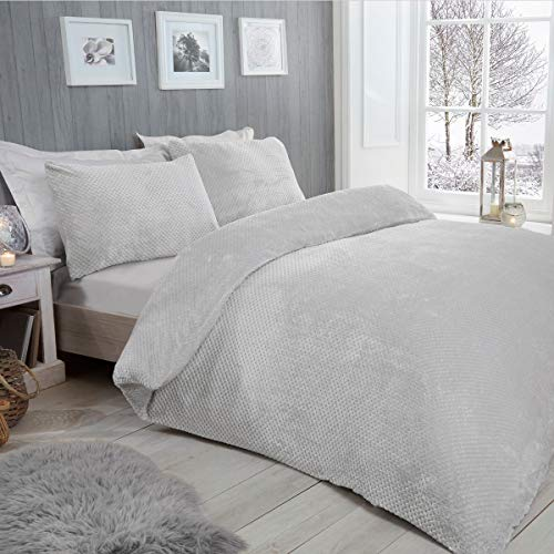 Sleepdown Waffle Teddy Fleece Silver Warm And Cosy Reversible Soft Duvet Cover Quilt Bedding Set With Pillowcases - Double (200cm x 200cm)