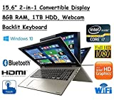 High Performance Toshiba Satellite Truelife 15.6' P55W FHD(1920x1080) Convertible 2-in-1 TouchScreen Laptop, Intel i7-6500U, 8GB RAM, 1TB HDD, Windows 10