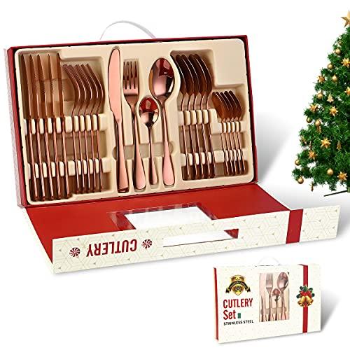 Home Safety Juego de cubiertos de caja de regalo de Navidad, Set de Cubiertos 24 Piezas, Juego de Cubiertos para 6 Personas, Incluye Cuchillo/Tenedor/Cuchara/Cucharilla, Acabado Pulido Brillante