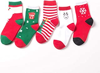 Kanggest. 5 Pares Set de calcetín de Navidad Lindo, Calcetín de diseño de calcetín de algodón Premium para Invierno,Calcetines Invierno Bebe Media de Navidad niños 6~8años