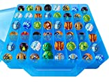 HOME4 Double Sided BPA Free Toy Storage Container - Compatible with Bakugan, Mini Toys, Small Dolls - Toy Organizer Carrying Case - 48 Compartments (Blue)