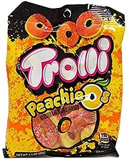 Trolli Peachie-O's Peach Gummy Rings Candy 3.5oz bags (Pack of 6)
