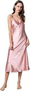 Women's Sexy Lingerie V Neck Nightgown Satin Sleepwear Chemise Slip Nightwear