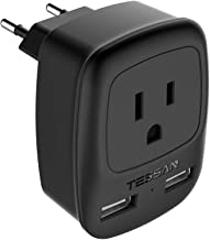 European Plug Adapter, TESSAN USA to Most of Europe Outlet Travel Adapter with 2 USB Charging Ports - 3 in 1 Europlug Power Adaptor -Type C Plug