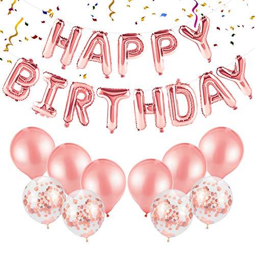 Kiiwah Geburtstagsdeko Happy Birthday Girlande Ballons Roségold, Geburtstag Dekoration Set mit Konfetti Luftballons für Mädchen und Jungen Geburtstag Party