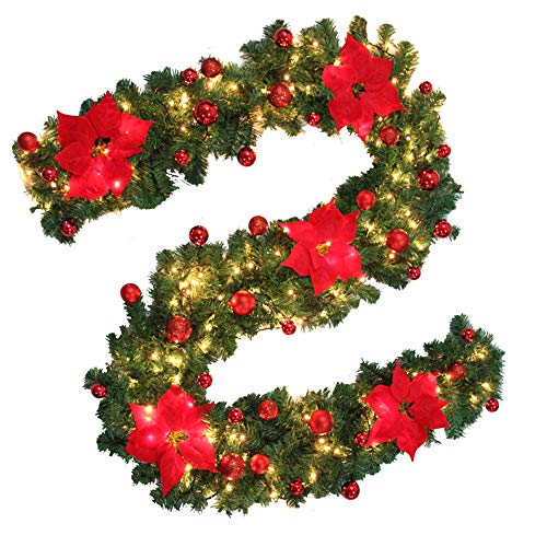 willkey 9ft Pre-Lit Christmas Garland Illuminated Warm White Light Artificial Wreath Decorated Gold Baubles Flowers Fireplace Xmas Tree Decoration (Red, 1Pack)