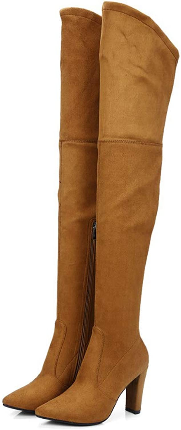 Thigh High Boots Faux Suede Winter Stretch Over The Knee Boots Zip High Heel Pointed Toe shoes Woman Boots