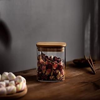 Annfly Boîte de conservation hermétique en verre avec couvercle en bois transparent pour nouilles, farine, céréales (200 ml)