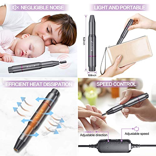 Acrylic Nail Drill Electric, Nail Drill File Portable USB Pen Manicure Pedicure Polishing 20000 RPM Adjustable Speed Gel Grinder Tools with 36Pcs Sanding Bands for Professional, Beginner