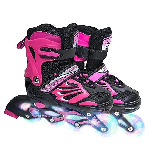 Inline Skates für Kinder /Erwachsen, Klingen Rollschuhe für Mädchen, Jungen und Jugendliche, Verstellbare Inliner Inlineskates für Kinder Damen Herren,3 Größen, Größe 28-42, Rollerskates