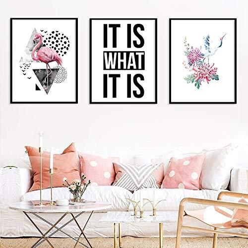 Ins Simple Engels IT is Wat IT is Canvas Schilderij, Flamingo Rood-gekroonde Kraan Dierafdrukken Poster Home Decor Foto's 50x70cmx3 geen Frame