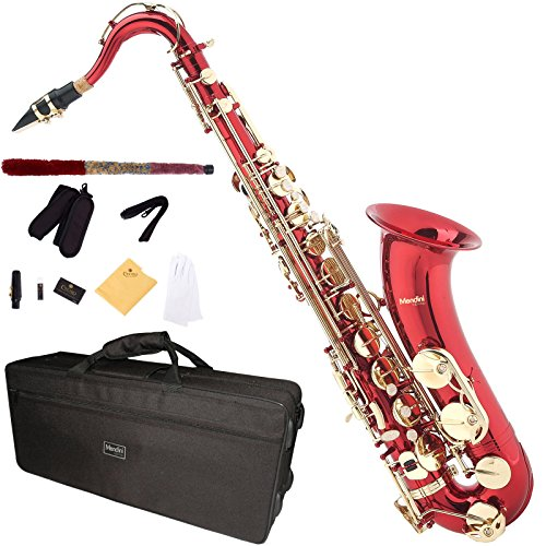Mendini MTS-L - Saxofón tenor, color rojo