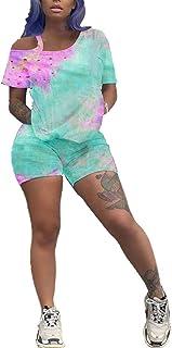 Hou Tie Dye Workout Short Sets for Women 2 Piece Tracksuits Lounge Wear Outfits T-Shirts Bodycon Shorts Set Jumpsuit
