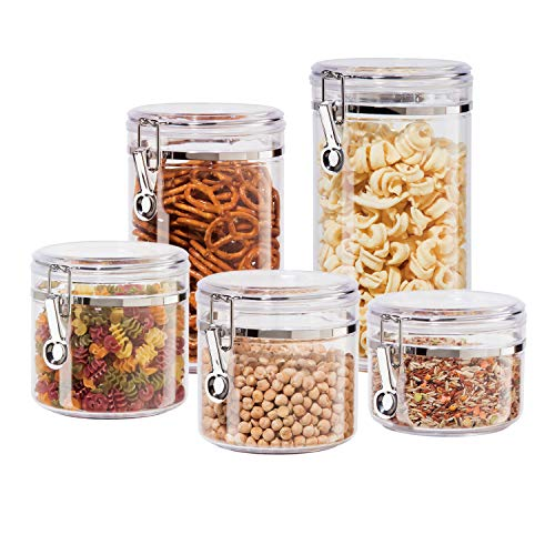 Oggi 5pc Clear Canister Set with Clamp Lids Airtight Containers in Sizes Ideal for Kitchen & Pantry Storage of Bulk, Dry Foods Including Flour, Sugar, Coffee, Rice, Tea, Spices & Herbs