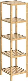 CASARIA Étagère en Bambou 5 Niveaux Meuble de Rangement Charge Max. 50 kg Max. Maison intérieur Salle de Bain Cuisine Couloir